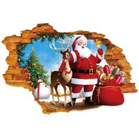 3D Broken Wall Sticker Santa Claus Reindeer Wall Sticker Christmas Decor