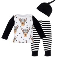 3pcs Christmas Baby Long Sleeve Print Elk T-Shirt+ Stripe Pants + Hat(70cm)