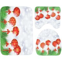 3pcs Christmas Red Ball Toilet Seat Cover Bathroom Mat Non-slip Carpet Mat