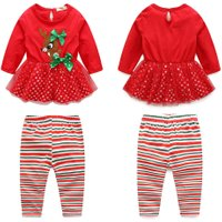 Children girl christmas set Clothes Long Sleeve Tops Striped Pants Outfit Set children's clothing Kids Clothes Girl ropa navidad