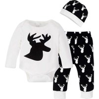 Christmas Sets Babies Long Sleeves Elk Print Romper + Pants + Hat(70cm)