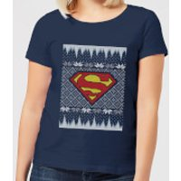 DC Superman Knit Women's Christmas T-Shirt - Navy - L - Navy