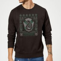 Harry Potter Slytherin Crest Christmas Sweatshirt - Black - L - Black