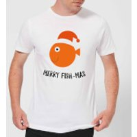 Merry Fish-Mas Men's Christmas T-Shirt - White - XXL - White