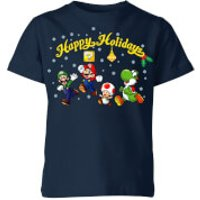 Nintendo Super Mario Good Guys Happy Holidays Kid's Christmas T-Shirt - Navy - 11-12 Years - Navy